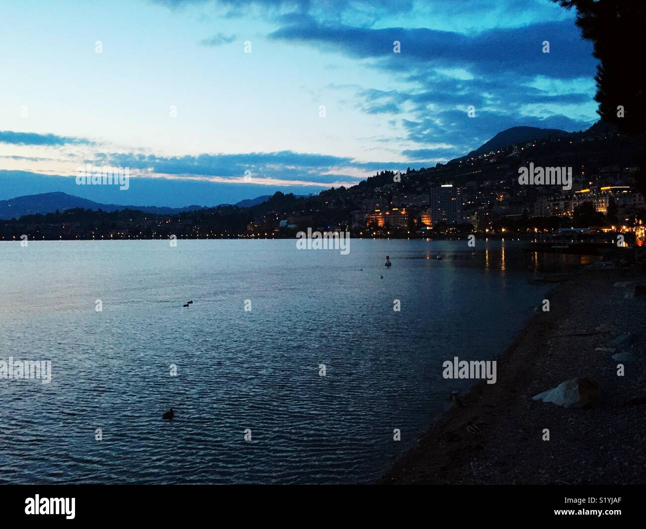 Lake Shore in Montreux Stockbild