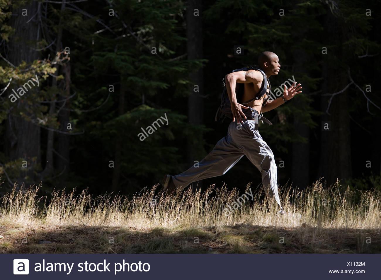 Afrikanische amerikanischer Mann, Amor Alexander läuft auf Trail in der Nähe von Mt. Hood in den Cascade Mountains, Oregon. (hoher Kontrast) Stockbild