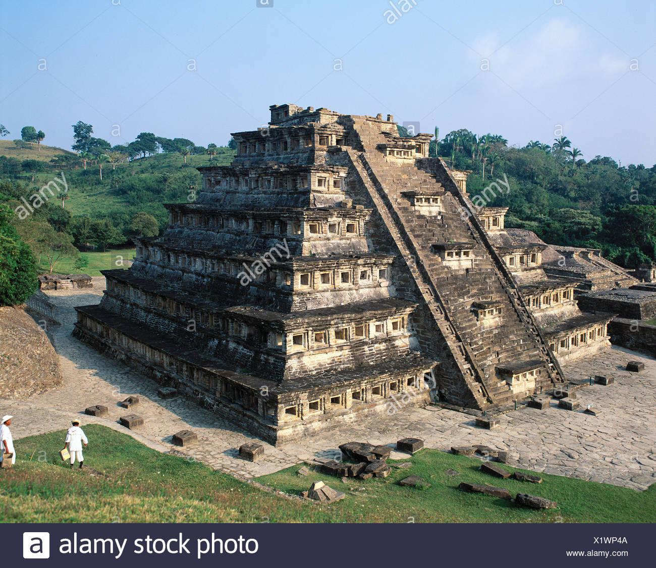 EL Tajin Kultur Mexiko Mittelamerika Lateinamerika Nischen Pyramide Pyramide Bundesstaat Veracruz Treppe Stockbild