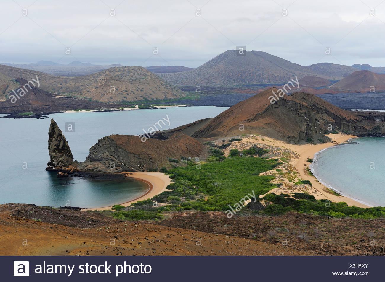 Sullivan Bay und Pinnacle Rock, Bartolom Insel, Galapagos-Inseln, Ecuador, Südamerika Stockbild