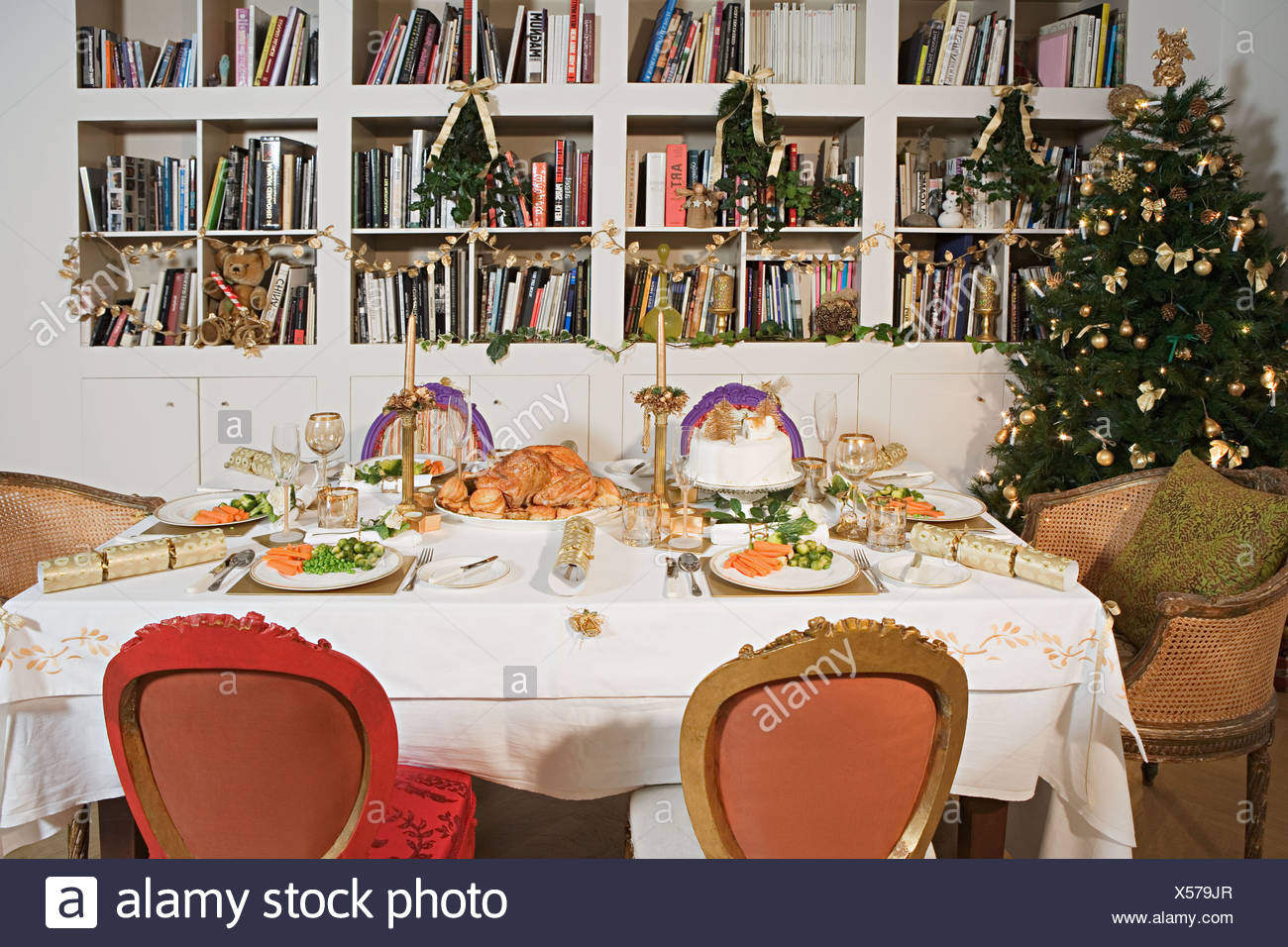 Gedecke für Weihnachtsessen Stockbild