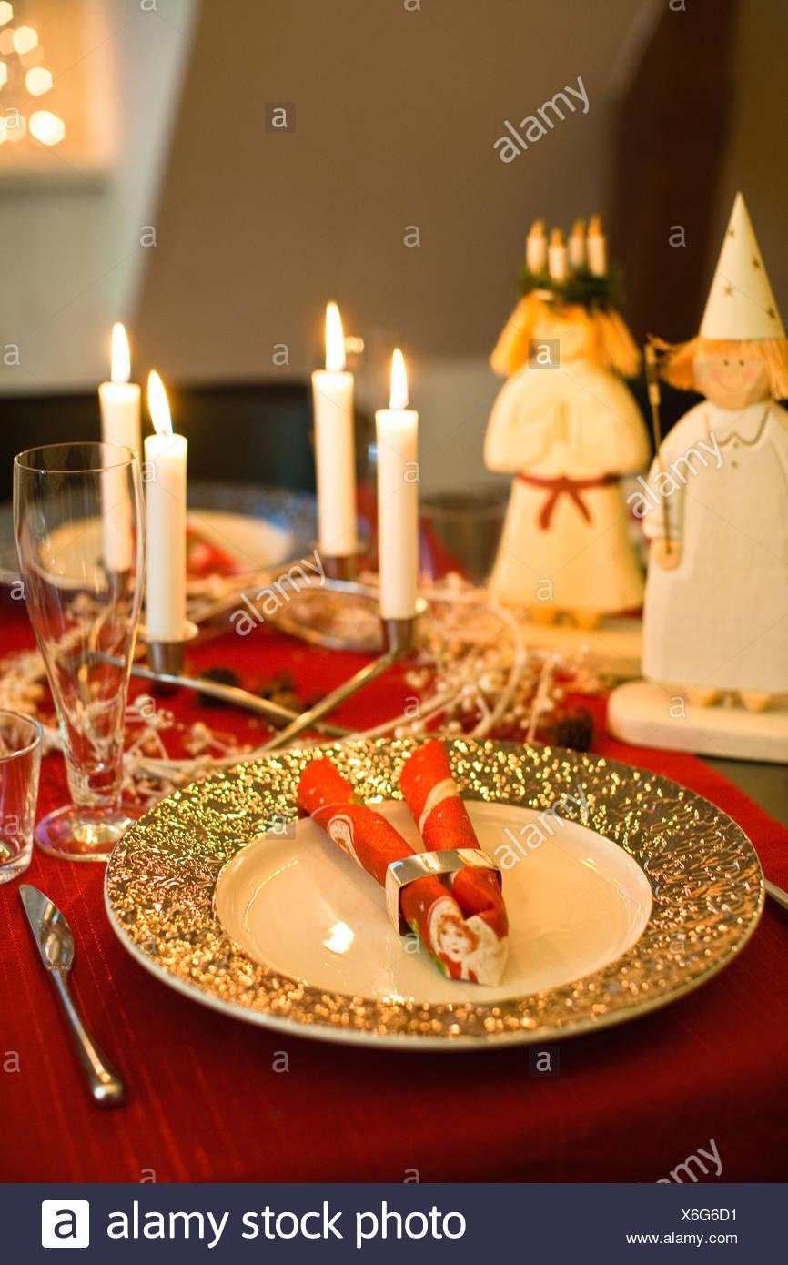 Traditionelle Weihnachts-Abendessen-Dekoration Stockbild