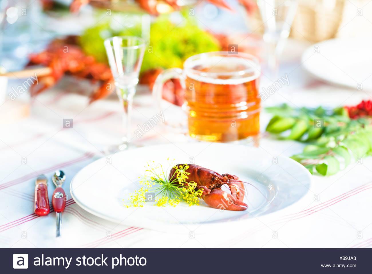 Mahlzeit mit Krebse auf Gartentisch Stockbild
