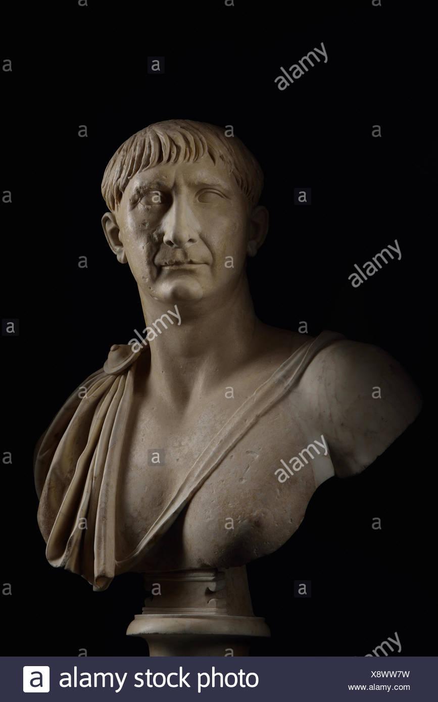 Eine Büste von Trajan, der von n. Chr. 98 bis 117, regierte das römische Reich seine äußersten Grenzen erweitern. Stockbild