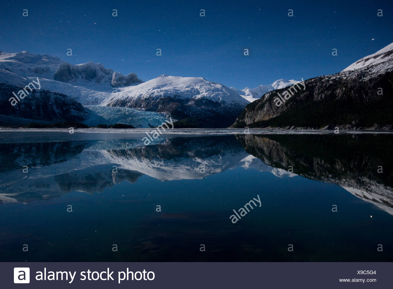 Winter, Seno Pia, Ostarm, Feuerland, Chile Stockbild