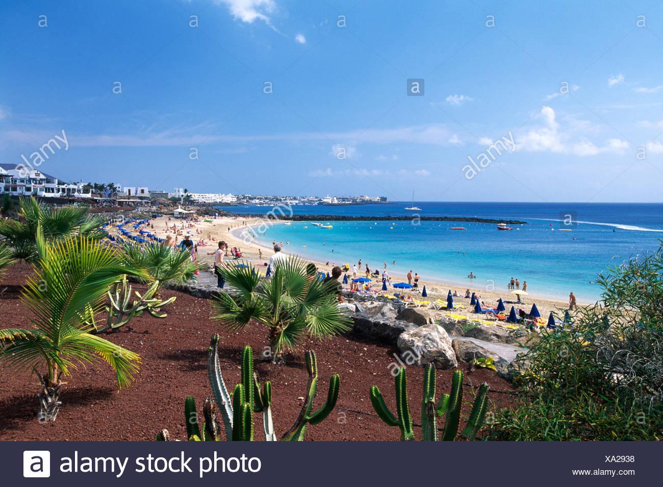 Playa Dorada von Playa Blanca, Lanzarote, Kanarische Inseln, Spanien, Europa Stockbild