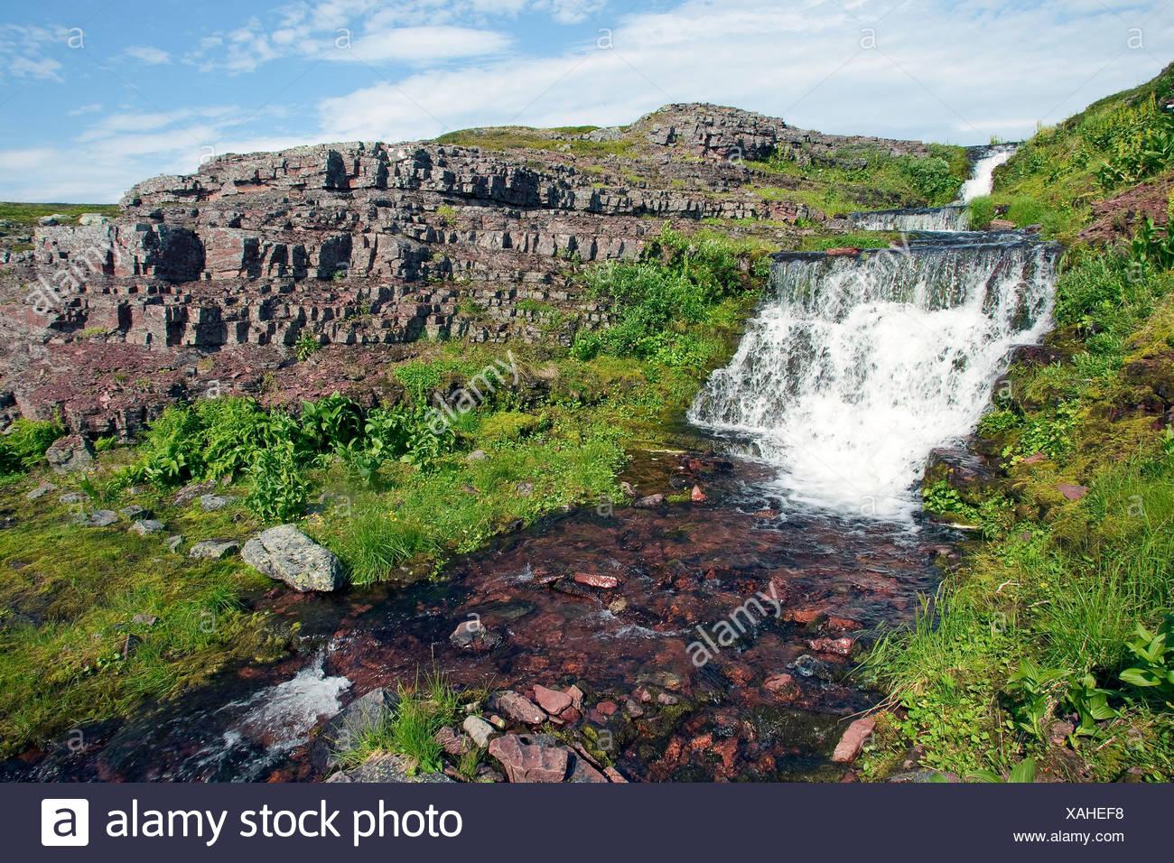 fließendes Wasser, Norwegen Varanger-Halbinsel, Lappland Stockbild
