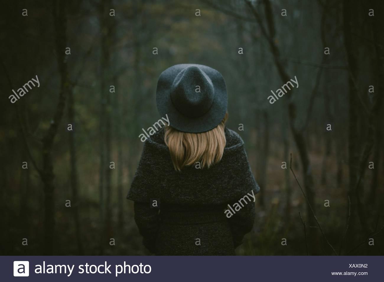 Rückansicht der Frau zu Fuß im Wald Stockbild