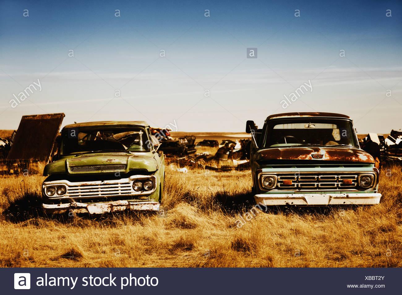 Kanada, Junk-e-Hof mit alten uns Autos Stockbild