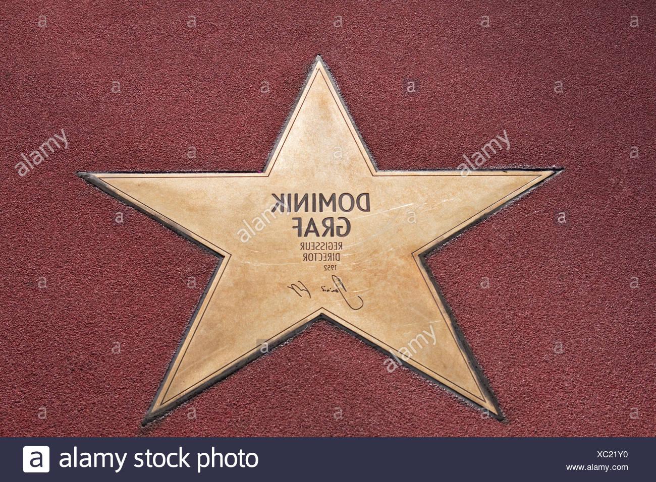 Stern von Dominik Graf, Boulevard der Stars, Spaziergang von Sternen, Platz, Potsdamer Platz Berlin, Deutschland, Europa Stockbild