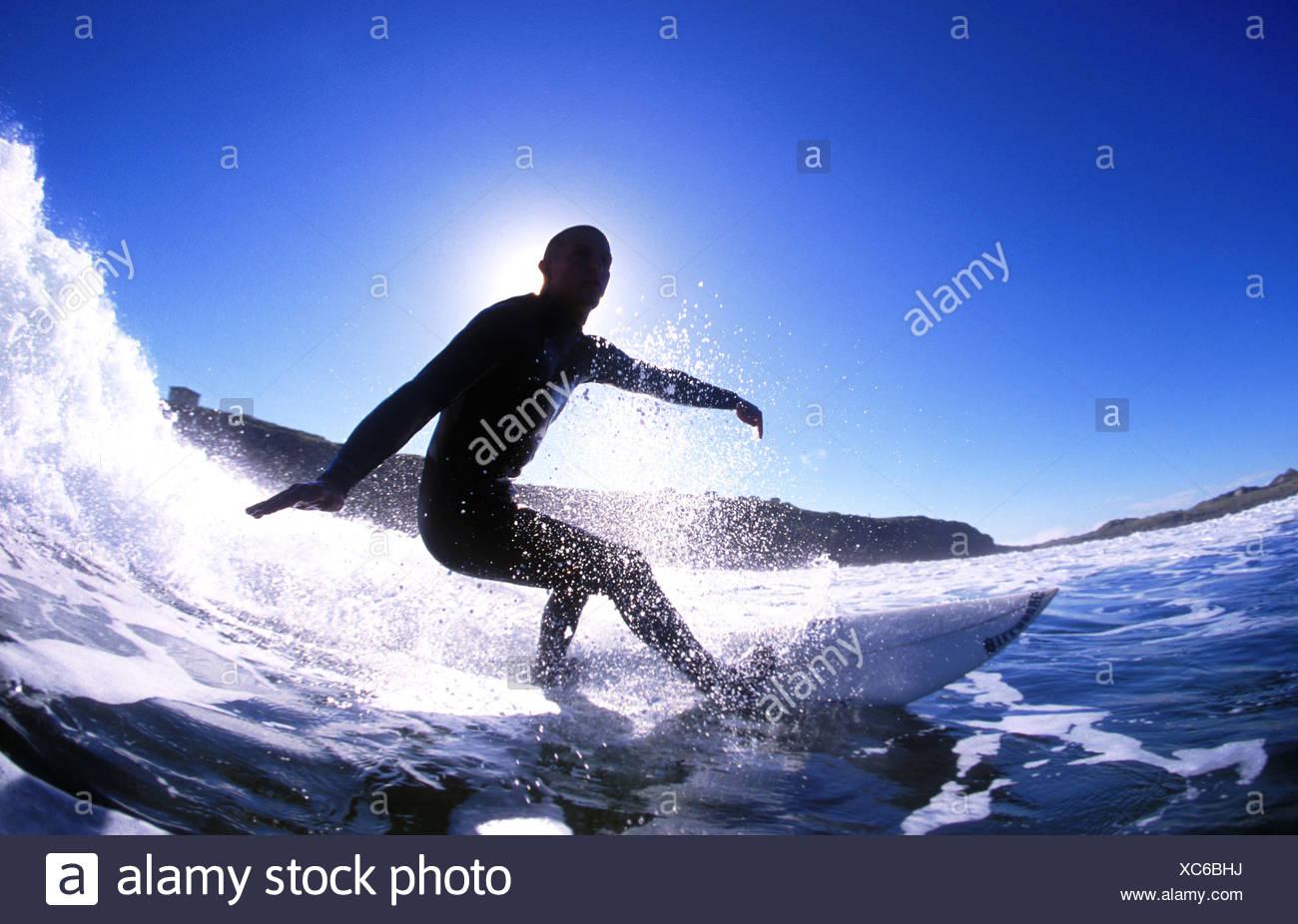 Richard Mullins Surf-Action, Irland Stockbild
