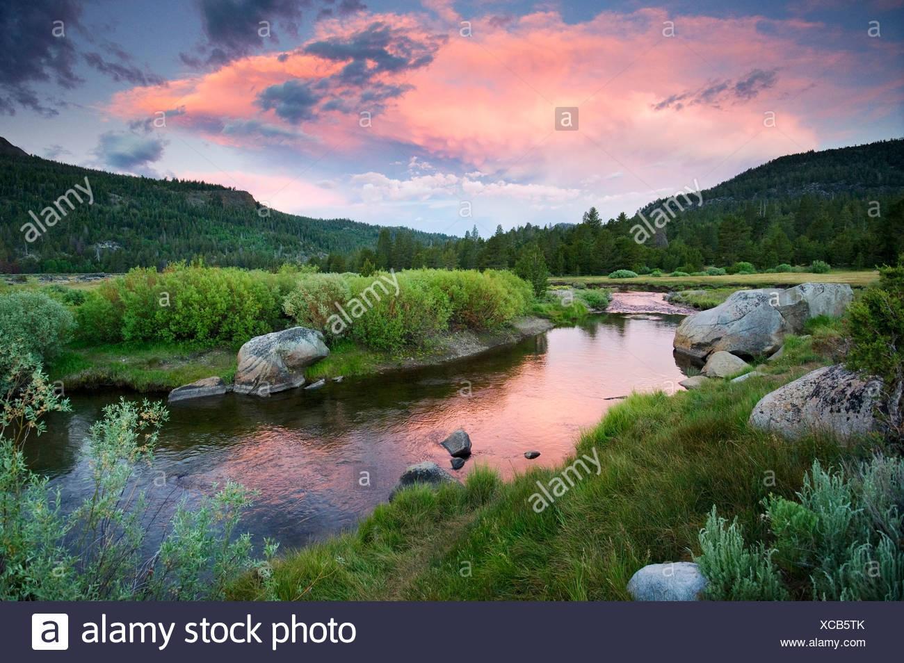 Einen wunderschönen Sonnenuntergang über der West Fork des Carson River in Hope Valley in der Nähe von South Lake Tahoe, CA. Stockbild