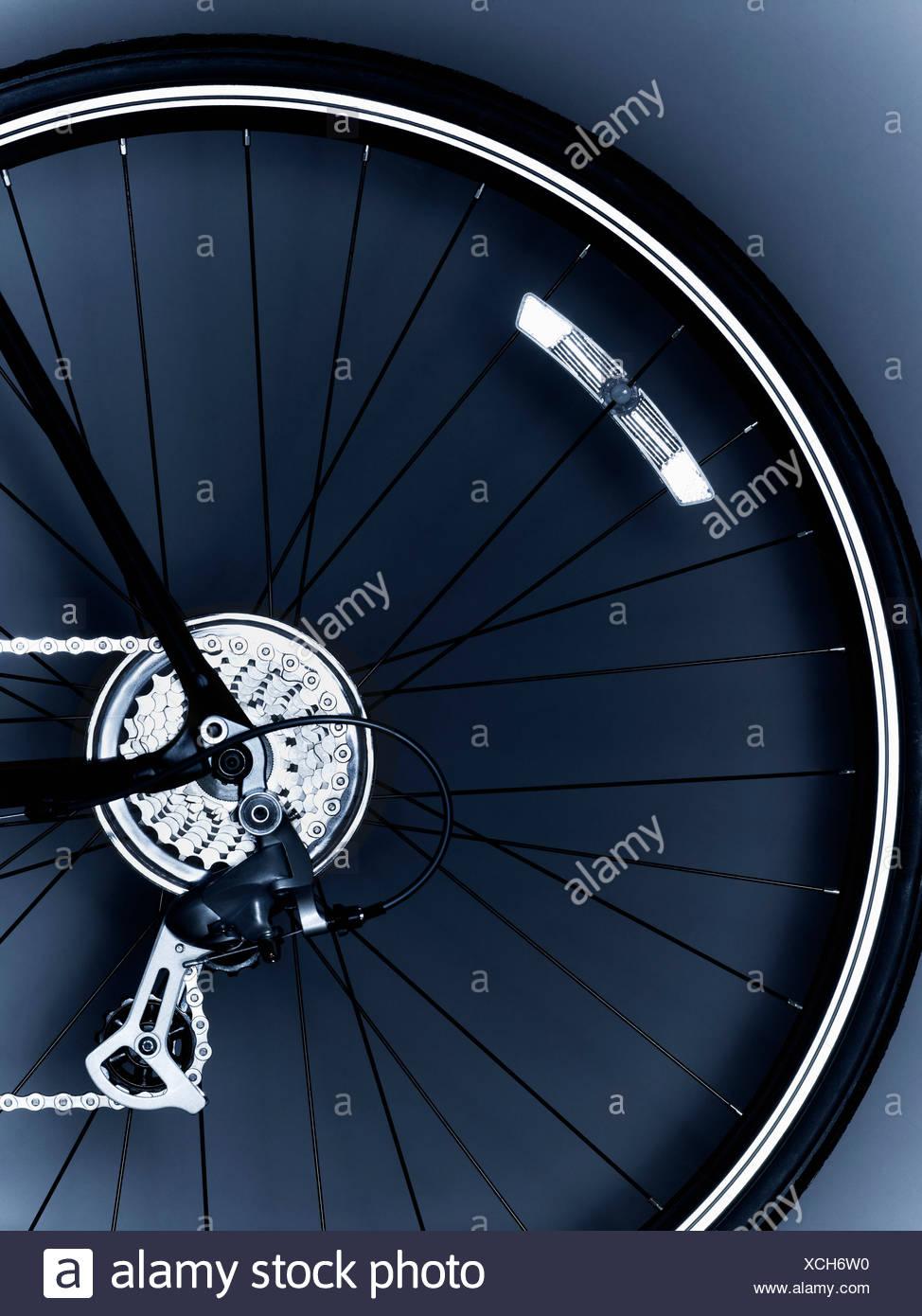 Fahrrad, Fahrrad-Ausrüstung, Fahrradreifen, Kette, Nahaufnahme, Rädchen, Farbe, detail, Getriebe, keine Menschen, Fotografie, sprach, studio Stockbild