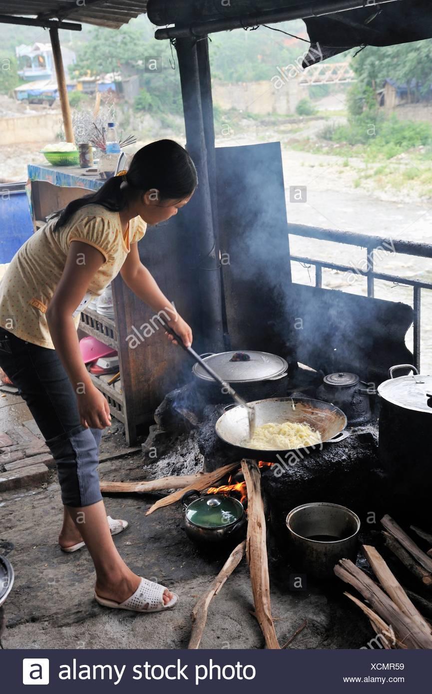 günstiges Restaurant von Bao Lac, Cao Bang Provinz, Nord-Vietnam, Südostasien Stockbild