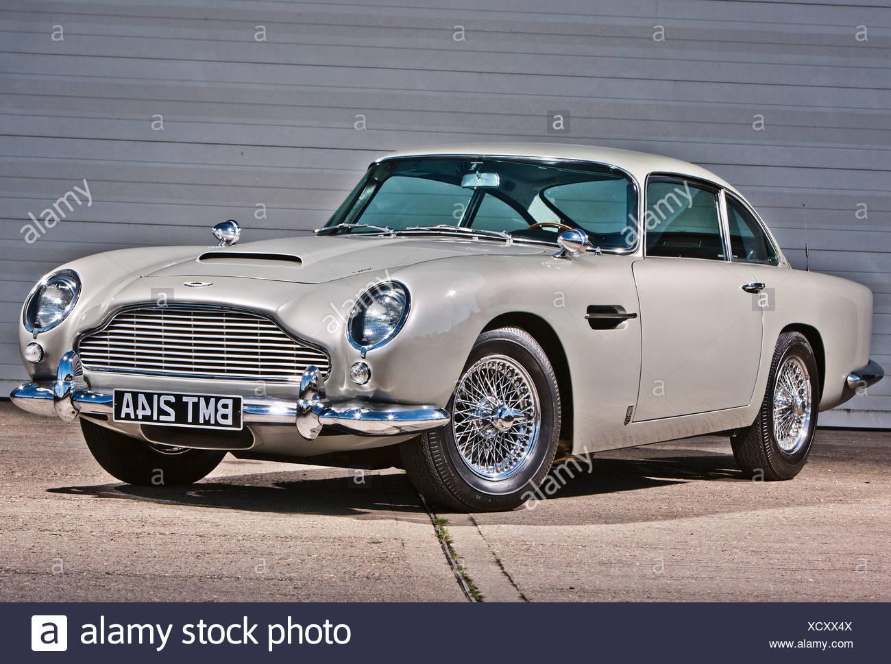Aston Martin DB5, James Bond Oldtimer Stockbild