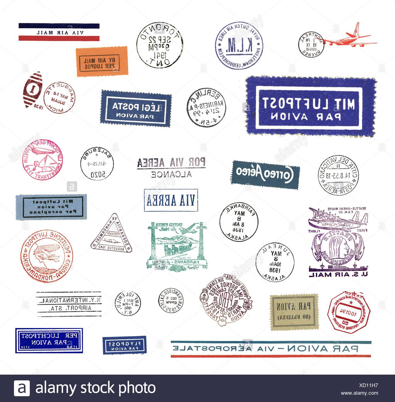 Alte Poststempel, Hauptsächlich Luftpost, freigestellt Stockbild