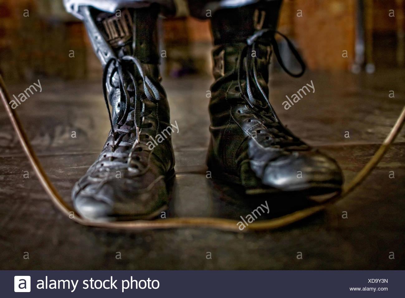 USA, Colorado, Mesa County, Grand Junction, Boxer Schuh mit Springseil Stockbild