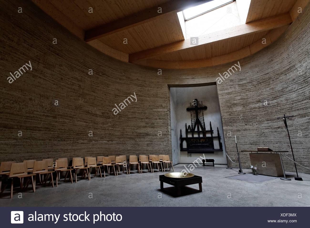 Kapelle auf dem Gelände des ehemaligen Versoehnungskirche, Versöhnungskirche, Gedenkstätte Berliner Mauer, Bernauer Straße Stockbild