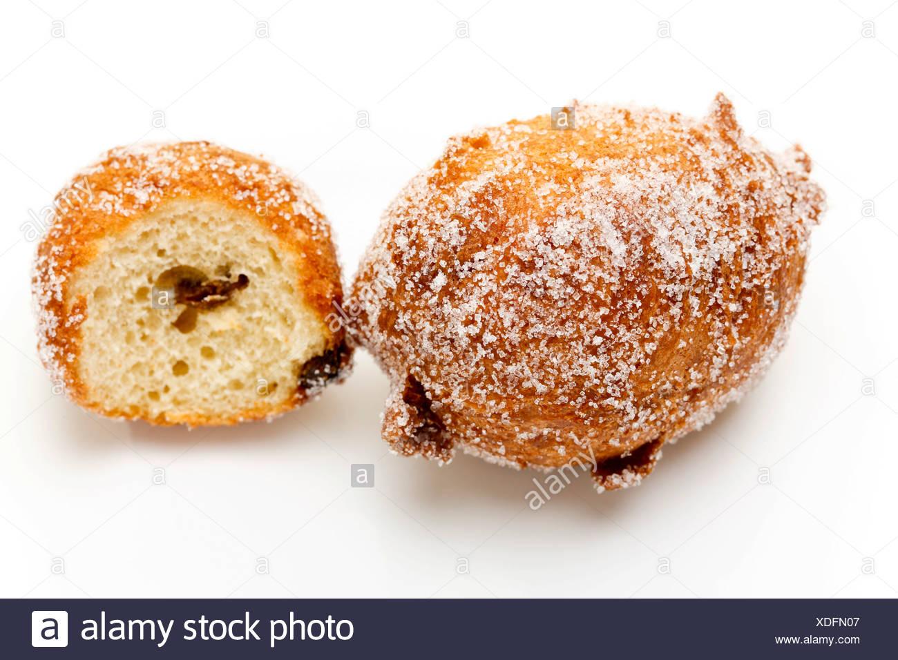 Donuts mit Zucker und Rosinen Stockbild