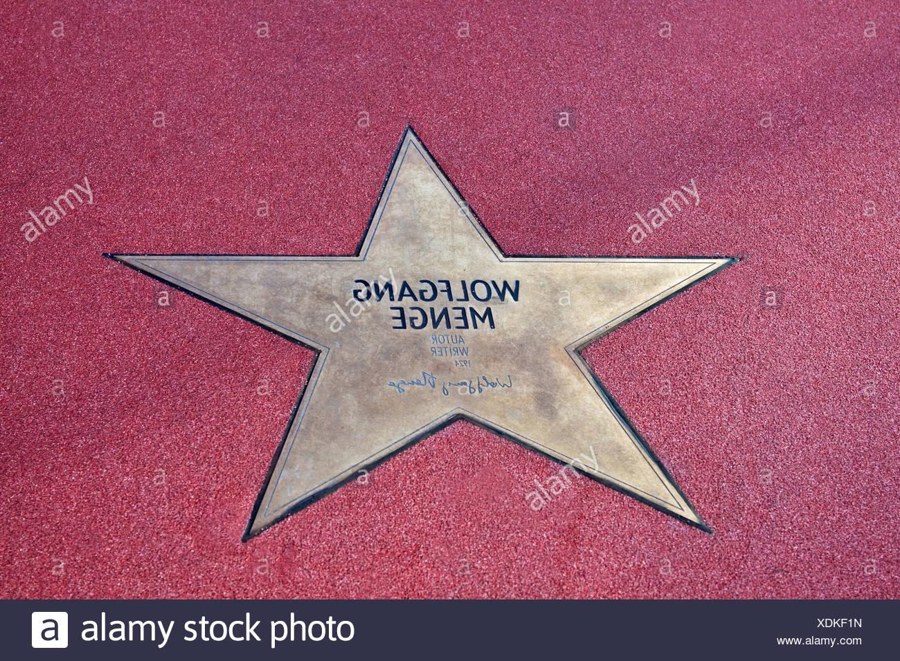 Stern von Wolfgang Menge, Boulevard der Stars, Spaziergang von Sternen, Platz, Potsdamer Platz Berlin, Deutschland, Europa Stockbild
