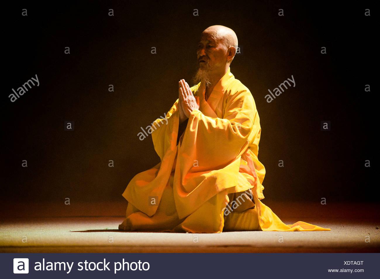 Mönch aus dem Shaolin-Kloster, in Berlin, Deutschland, Europa Stockbild