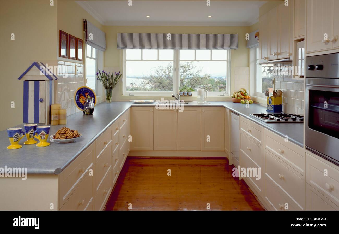 Fantástico Azul Gris Pintado Muebles De Cocina Composición - Como ...