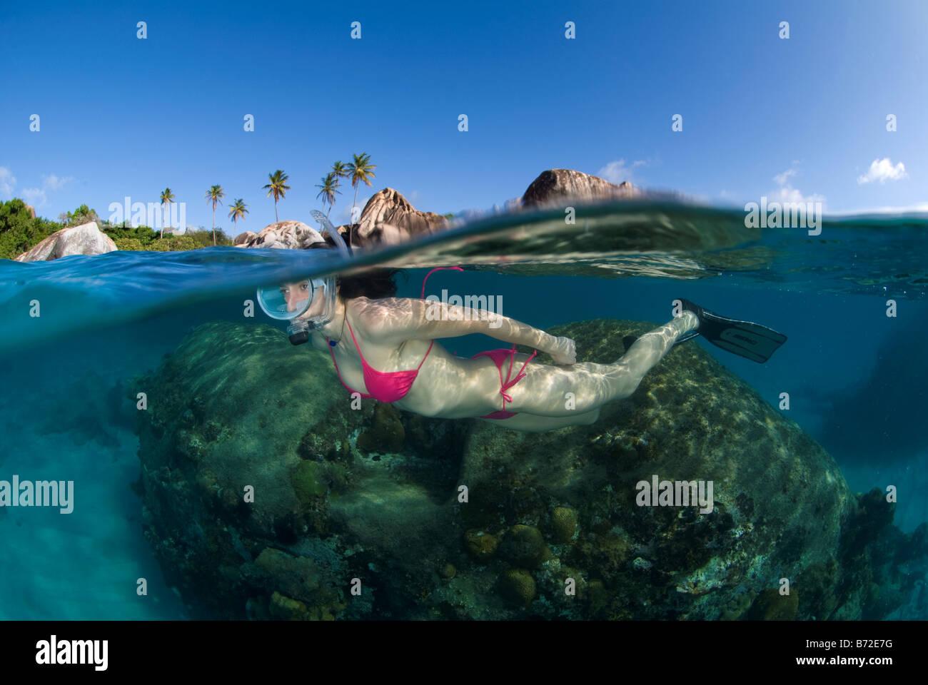 Snorkeling en Baños playa, Islas Vírgenes Británicas, hembra diver, máscara oval, bikini, agua Imagen De Stock