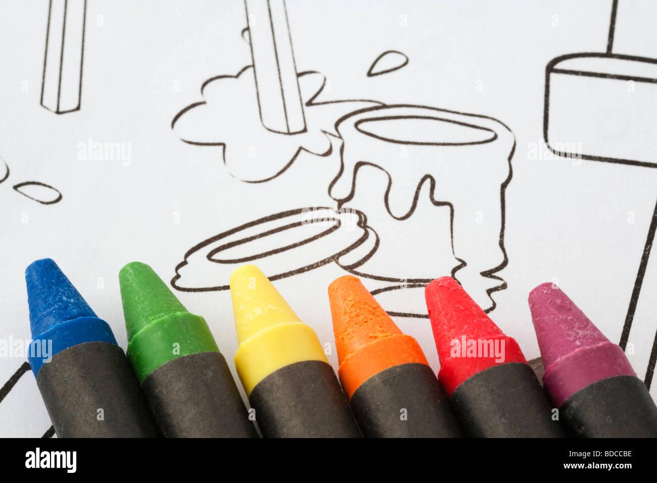 Cera crayones de colores en línea para niños dibujo para colorear un ...