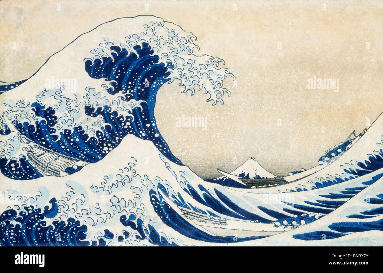 La Gran Ola, de Katsushika Hokusai. El Japón, del siglo XIX. Imagen De Stock