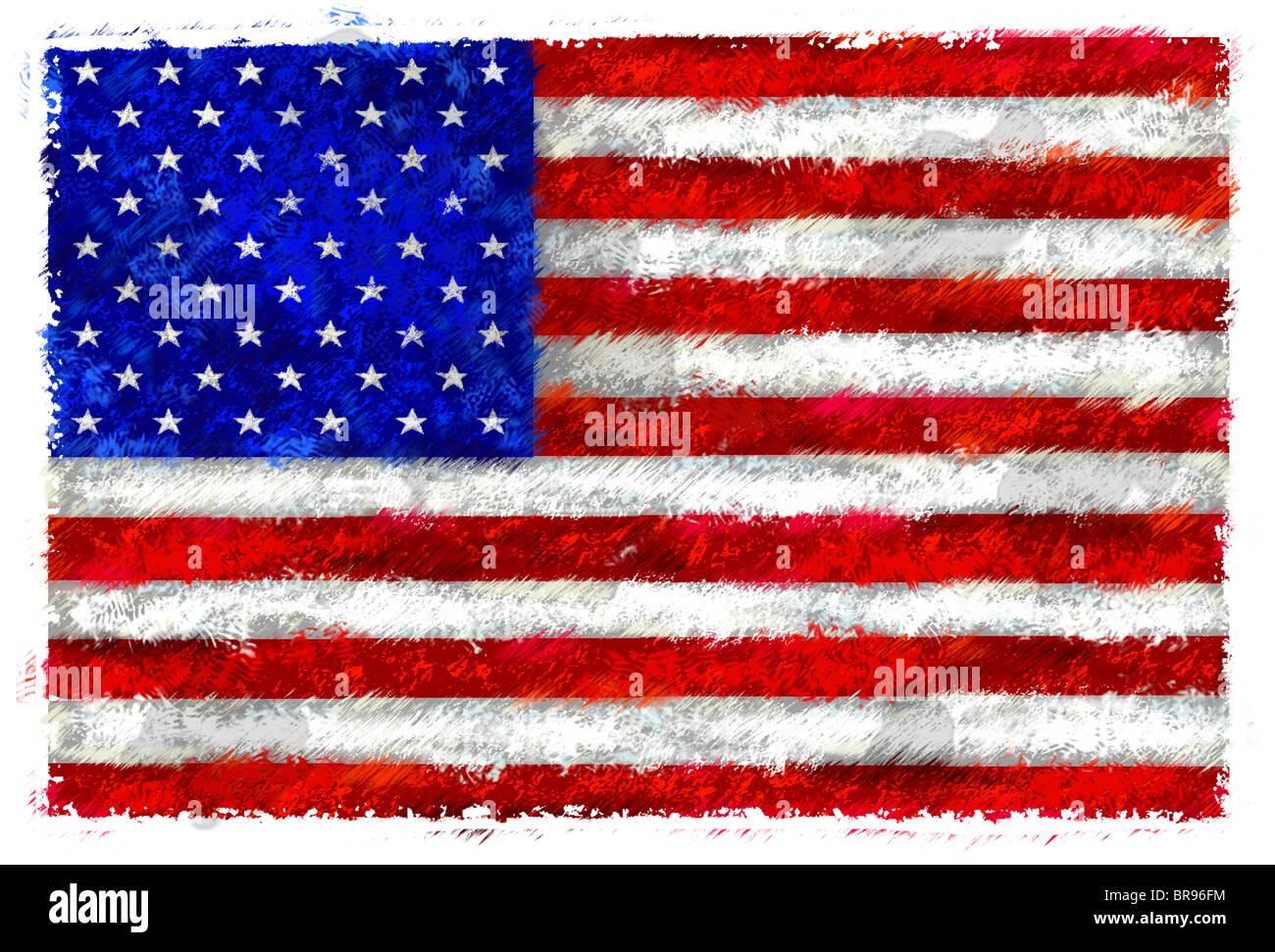 Dibujo De La Bandera De Los Estados Unidos Foto Imagen De Stock