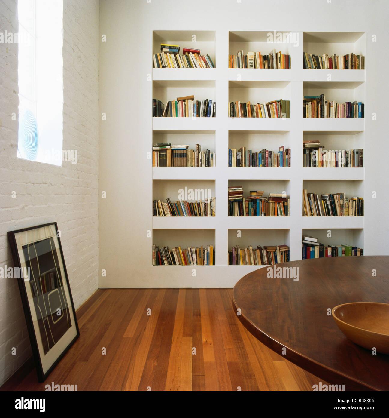Estanterías para empotrar blanco en blanco moderno comedor con pisos ...