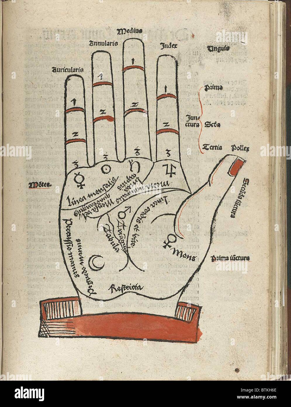 Xilografía de una mano con el palmista marcados para facilitar la ...