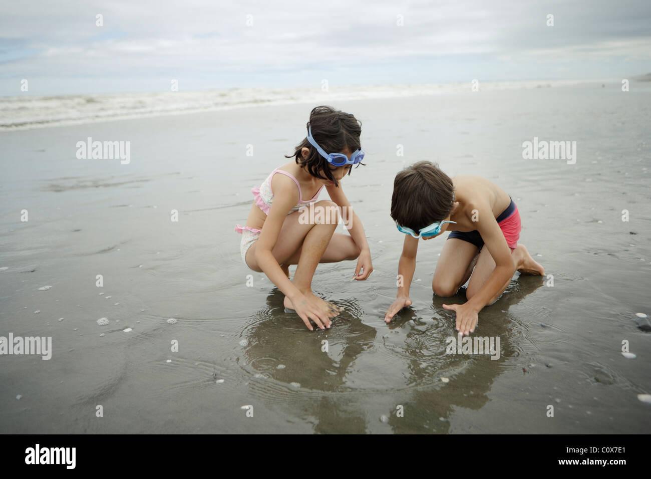Hermano y hermana, mestizos, jugar en el mar. Manawatu, Nueva Zelanda. Imagen De Stock