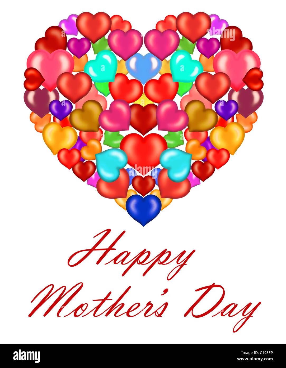 Día De La Madre Corazón Hecho De Pequeños Corazones De Color Foto