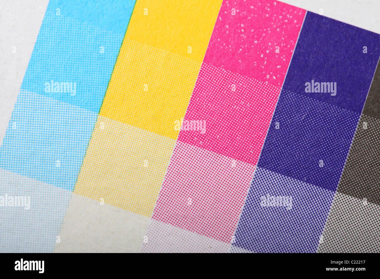 Impresoras color CMYK de impresión prueba de impresión en cuatro ...