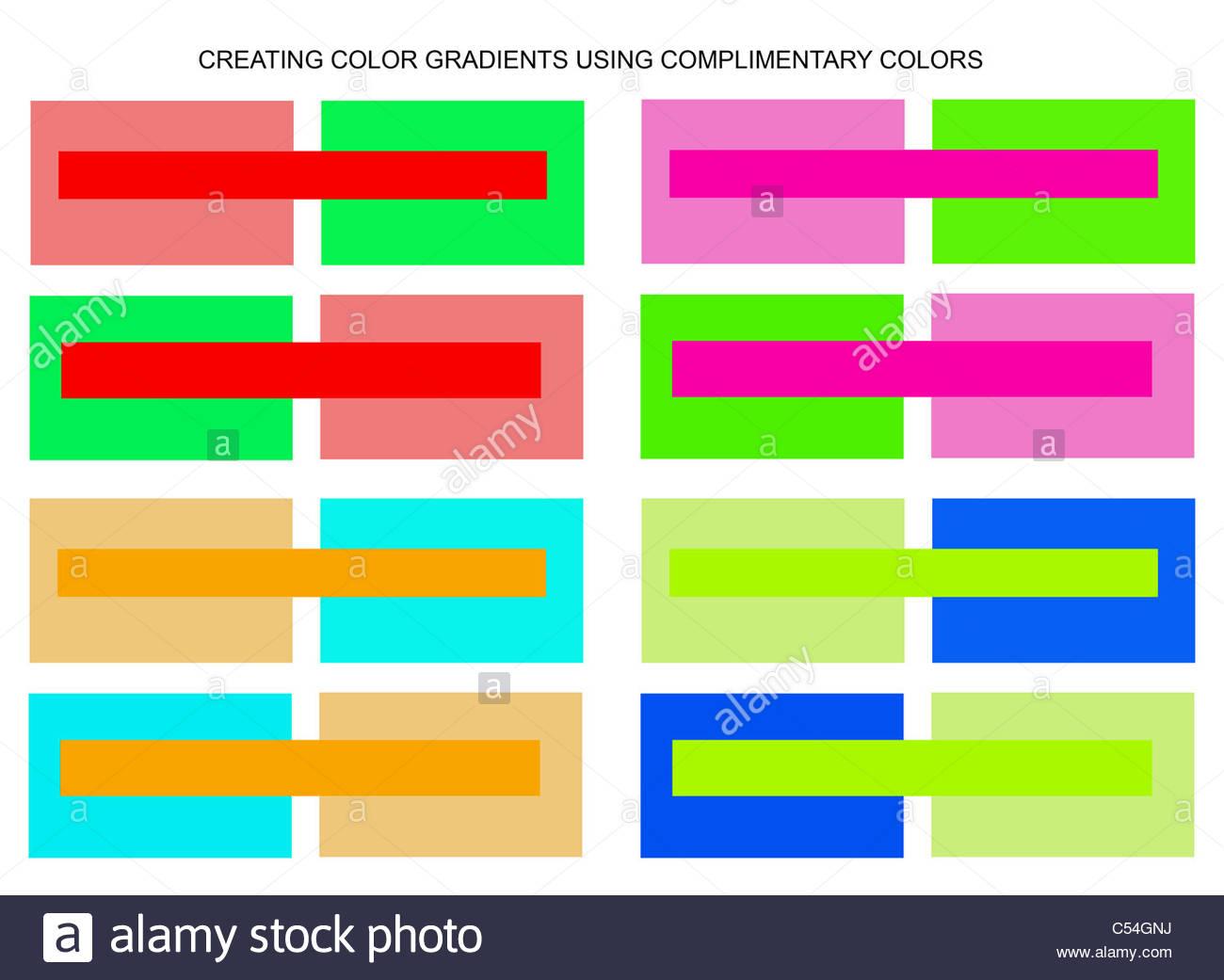 ilustración gráfica mediante rectángulos para mostrar crear colores