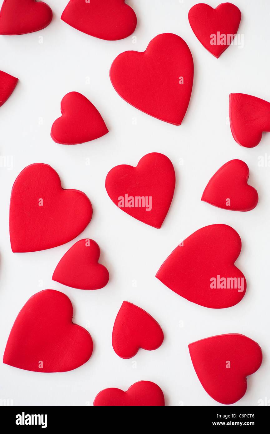 Amor Corazones De Color Rojo Sobre Fondo Blanco Foto Imagen De