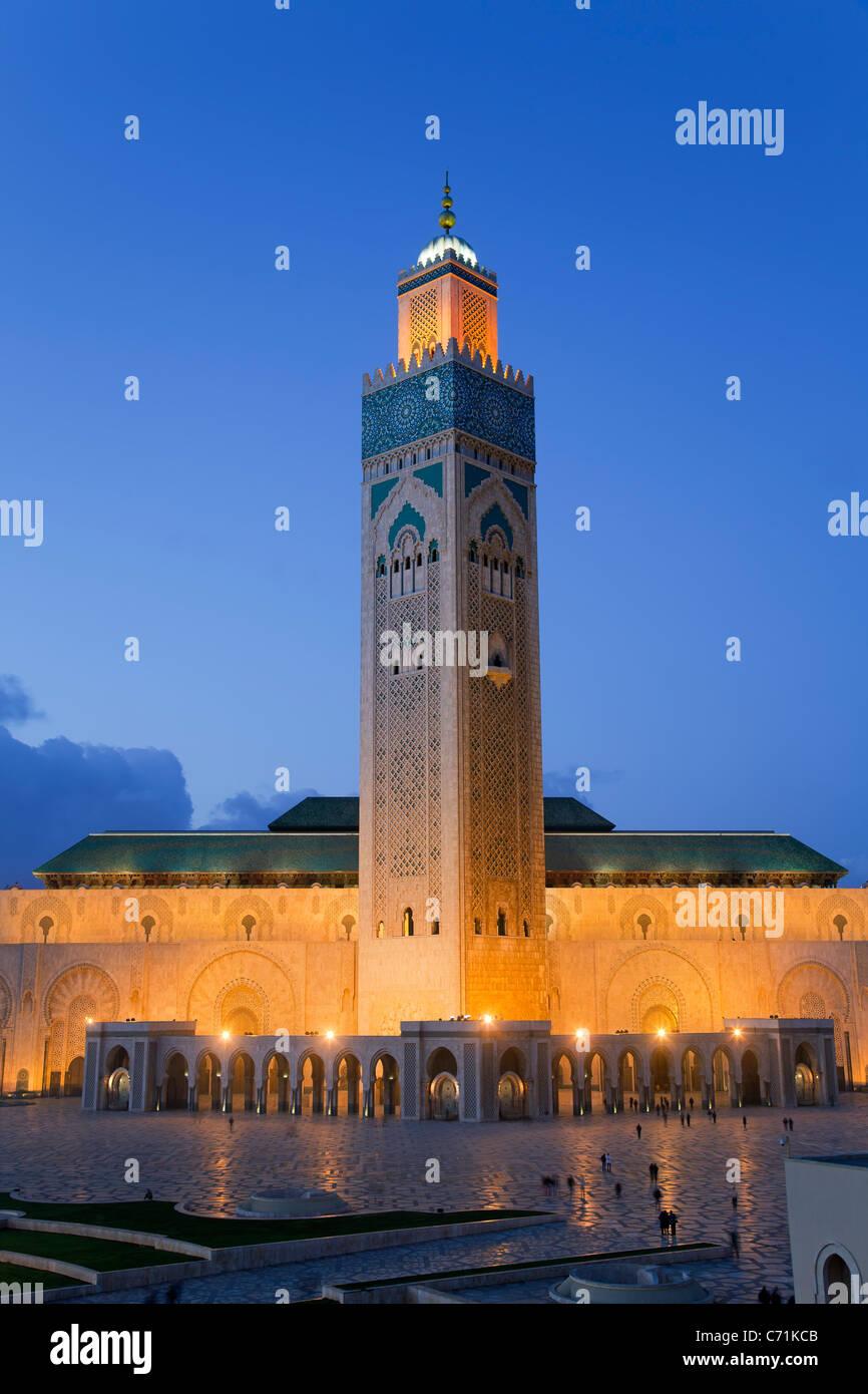 Mezquita de Hassan II, la tercera mezquita más grande del mundo, en Casablanca, Marruecos, Norte de África Imagen De Stock