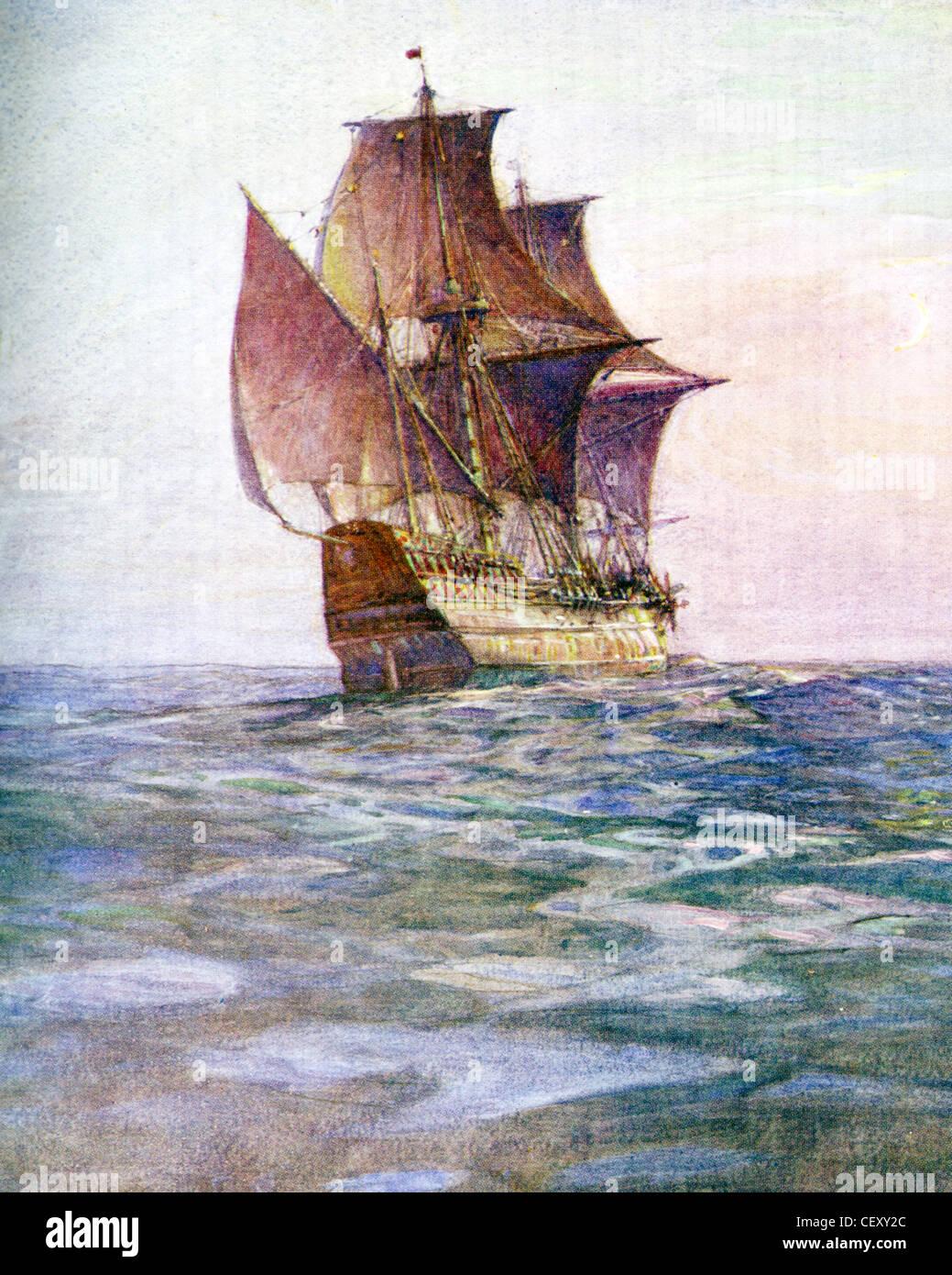 El Mayflower llevaron el inglés disidentes (peregrinos) a Massachusetts en 1620. Pintado por el historiador Imagen De Stock