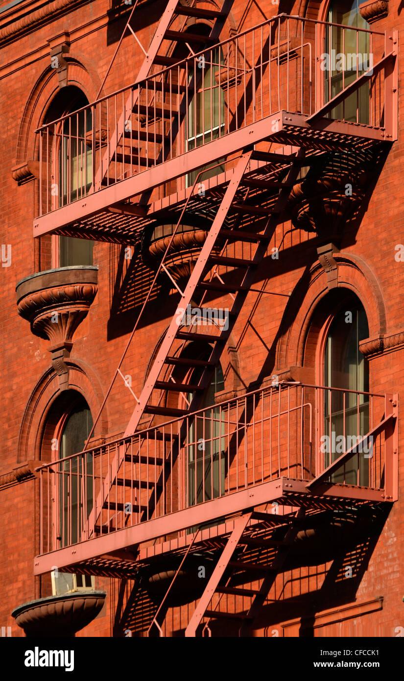 Salida de incendios, Tribeca, Manhattan, Ciudad de Nueva York, Nueva York Imagen De Stock