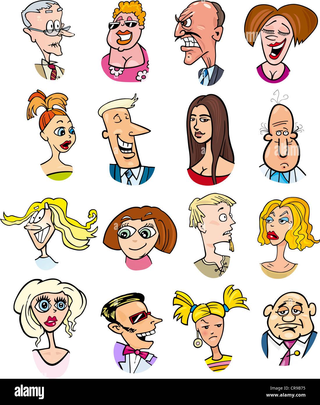 Ilustración De Dibujos Animados De Personas Diferentes Personajes Y