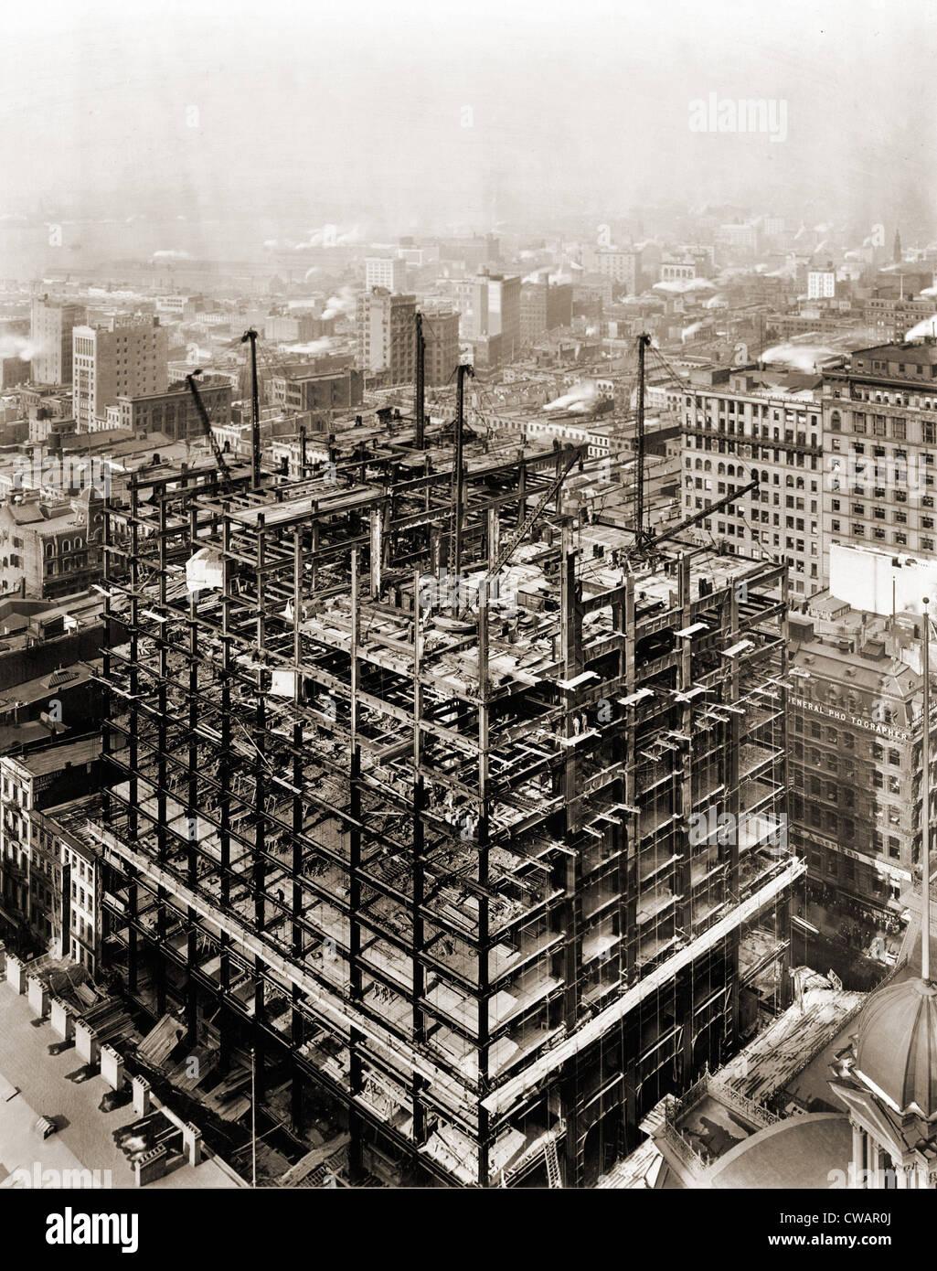 Edificio Woolworth estructura de acero en la construcción, la ciudad ...