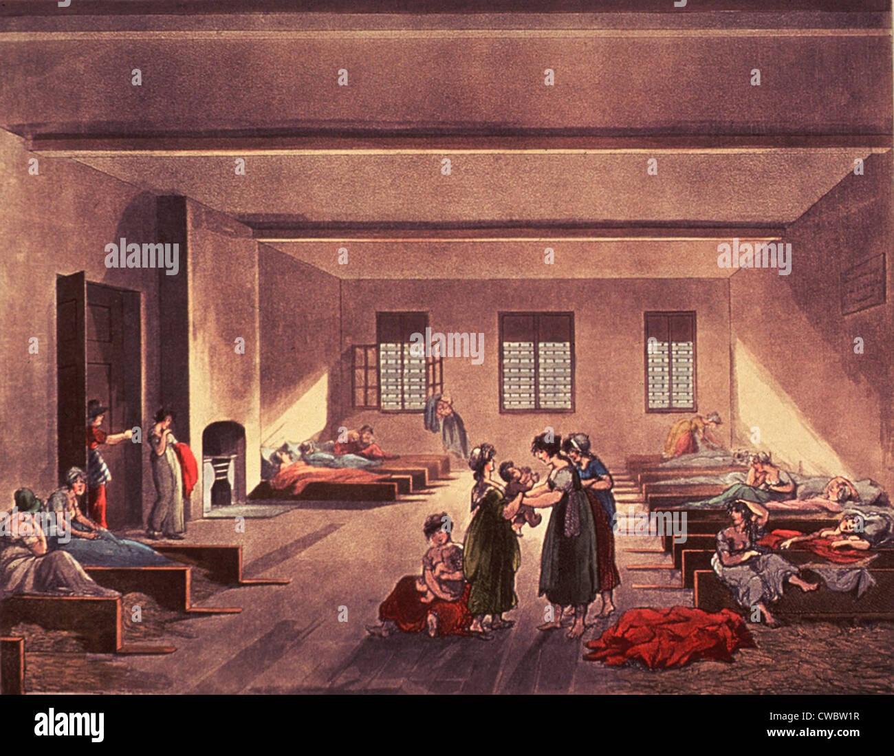 Sala de detención en London's Bridewell Hospital, para personas sin hogar, empobrecidos, y probablemente Imagen De Stock