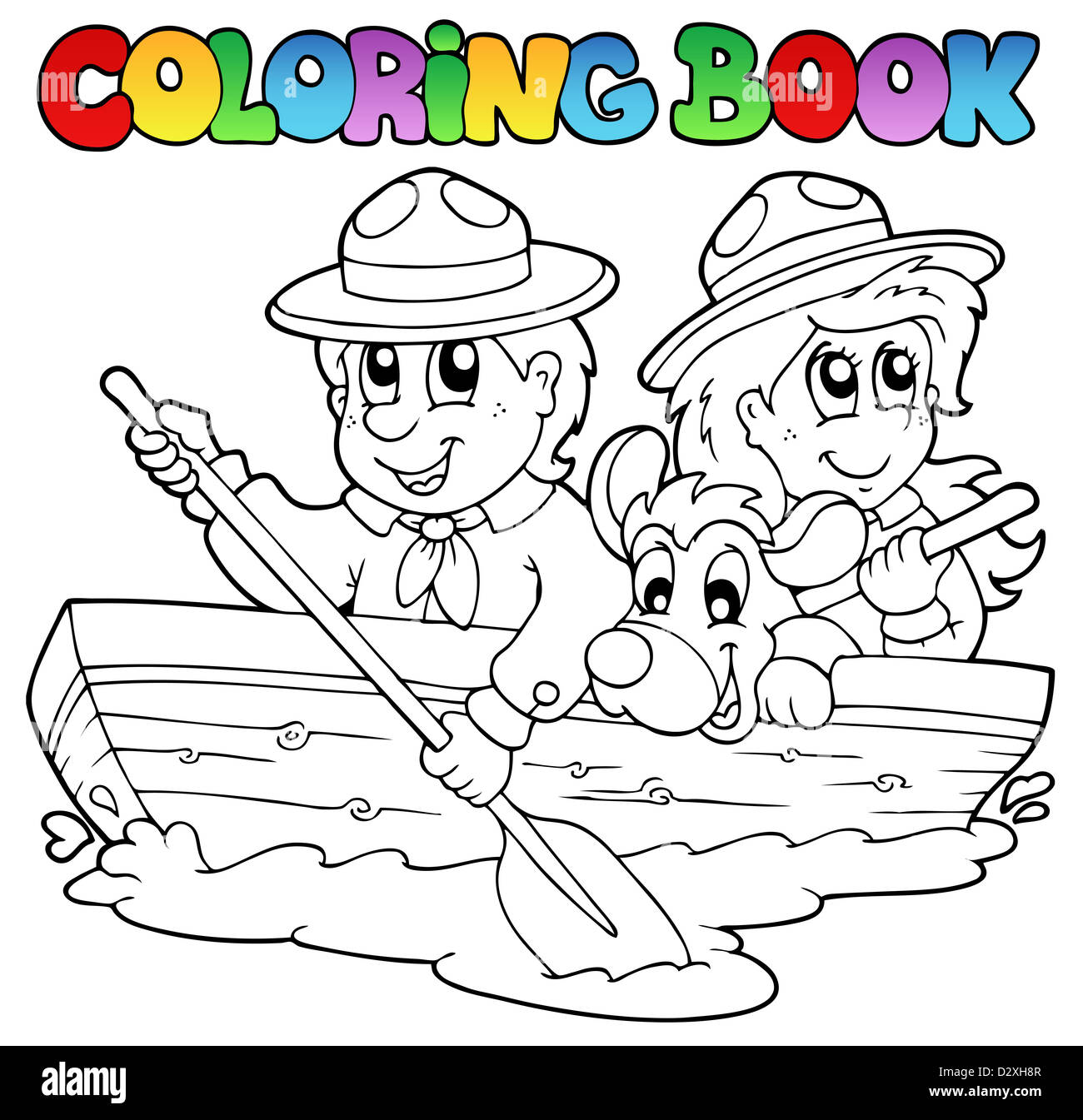 coloring book water scout boy Stock Photos & coloring book water ...