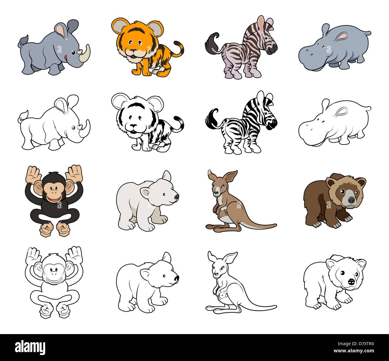 Una serie de dibujos animados ilustraciones de animales salvajes ...