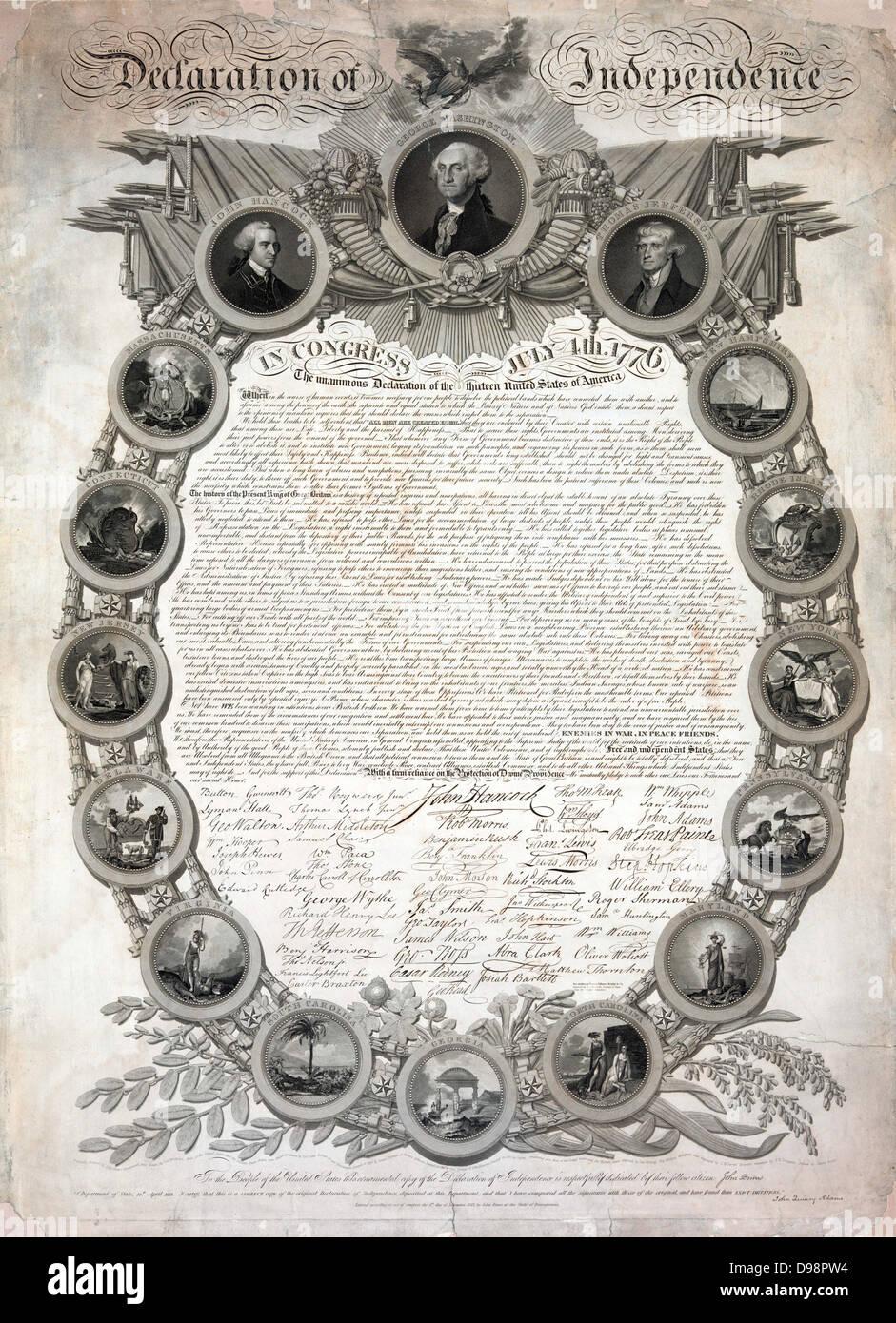Facsímil del borrador original de la Declaración de la Independencia ...