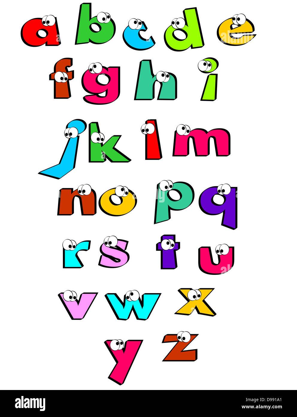 gracioso las letras del abecedario con los ojos alfabeto para niños