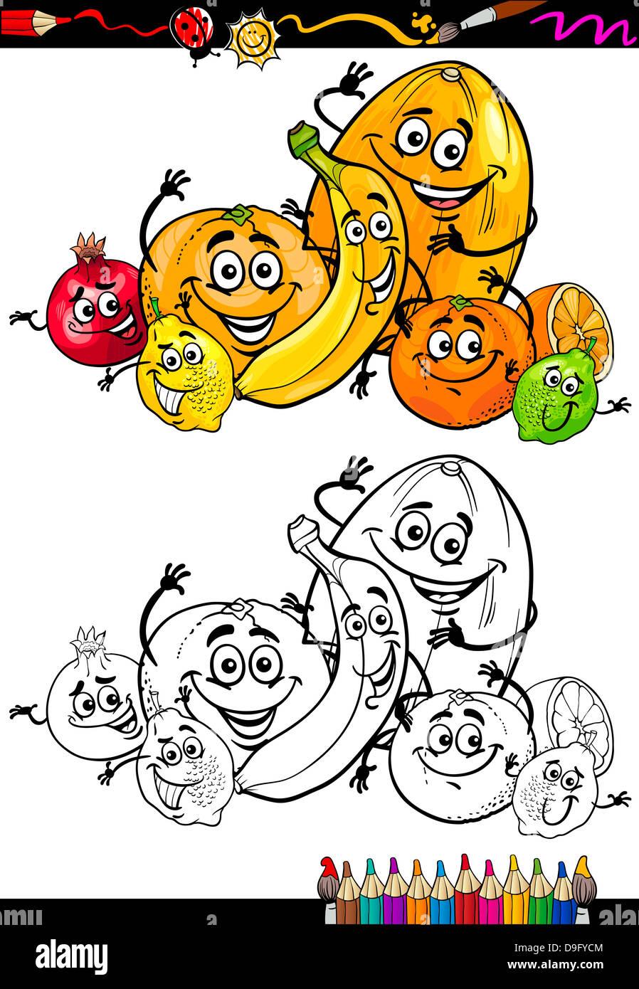Libro para colorear o página Cartoon Ilustración de Cítricos ...