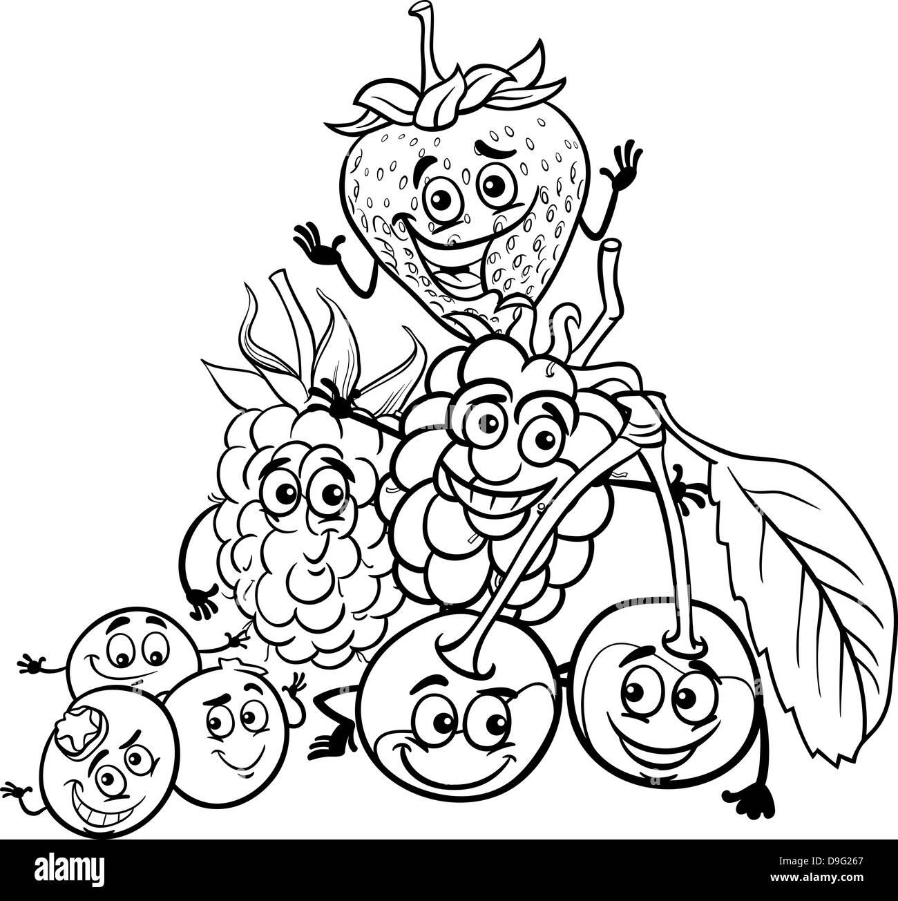 Ilustración caricatura en blanco y negro de bayas divertidos ...