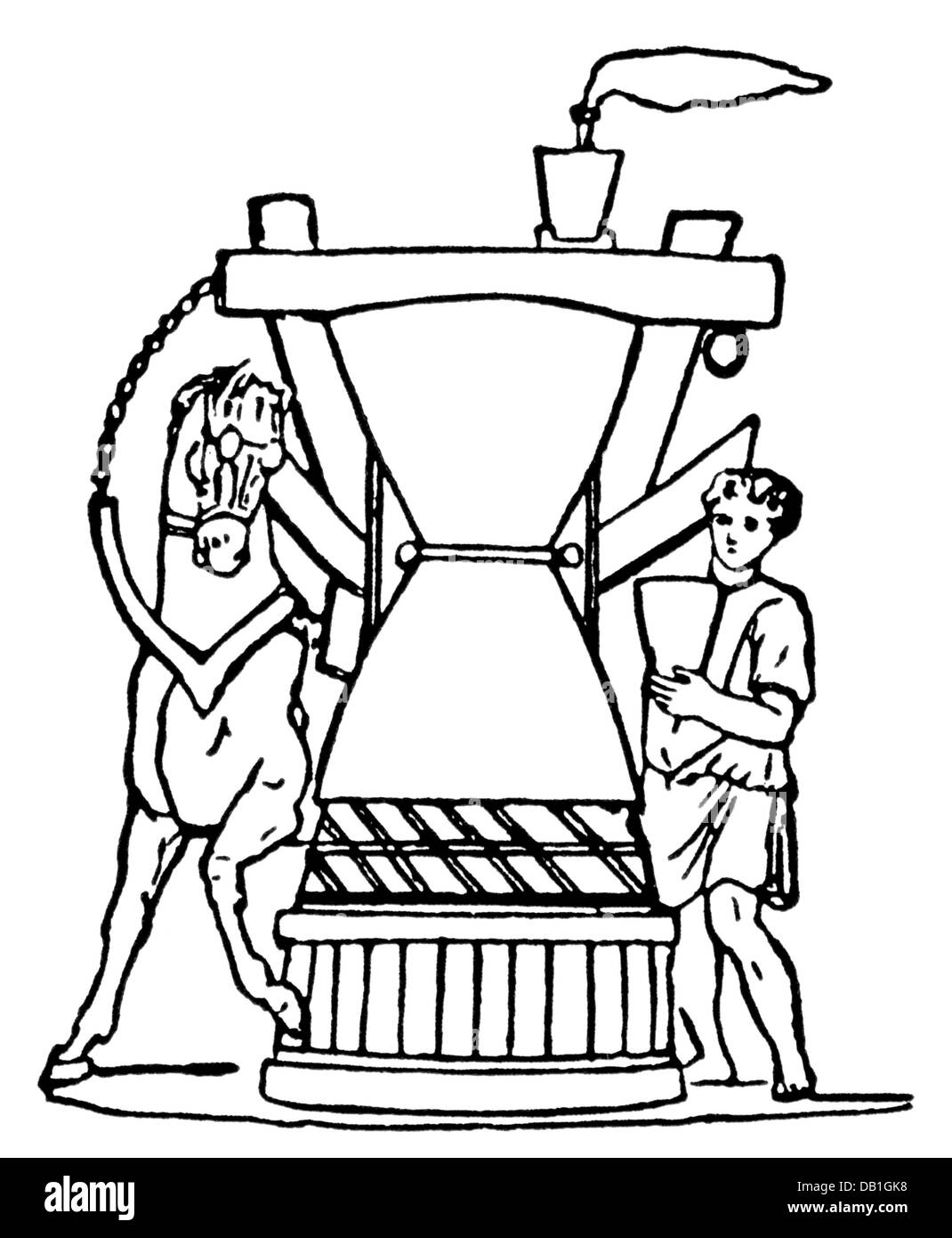 La comida, la harina, el molino giratorio en una panadería romana ...